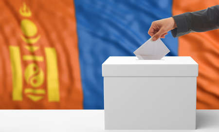 waiving: Voter on an waiving Mongolia flag background. 3d illustration