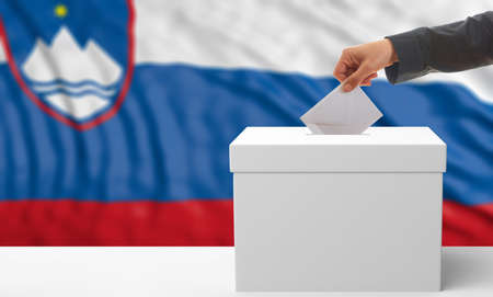 Voter on an waiving Slovenia flag background. 3d illustration Stock Photo