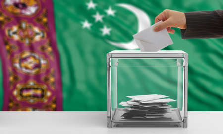 waiving: Voter on an waiving Turkmenistan flag background. 3d illustration