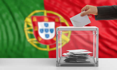 Voter on an waiving Portugal flag background. 3d illustration Stock Photo