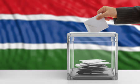 gambia: Voter on an waiving Gambia flag background. 3d illustration