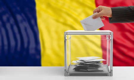 Voter on an waiving Chad flag background. 3d illustration Stock Photo