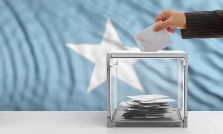 Voter on an waiving Somalia flag background. 3d illustration Stock Photo