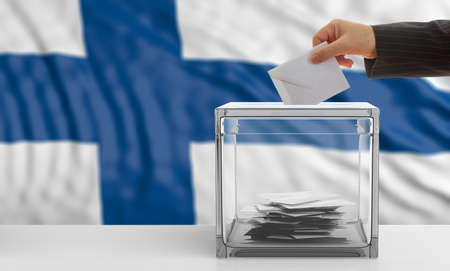 Voter on an waiving Finland flag background. 3d illustration