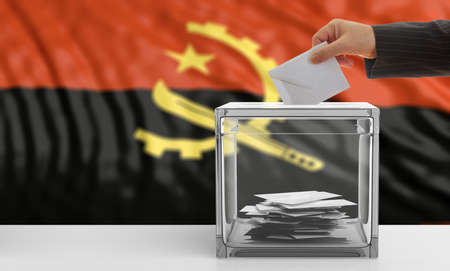 Voter on an waiving Angola flag background. 3d illustration