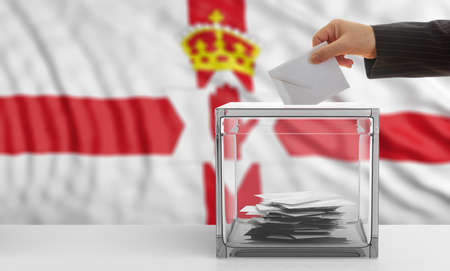 Voter on an waiving Northern Ireland flag background. 3d illustration Stock Photo