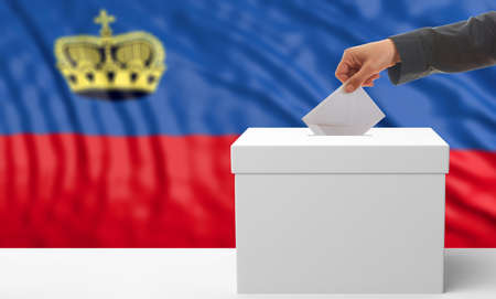 waiving: Voter on an waiving Liechtenstein flag background. 3d illustration Stock Photo