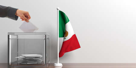 Glass ballot box and a small Mexico flag. 3d illustration Reklamní fotografie