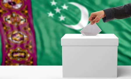 Voter on an waiving Turkmenistan flag background. 3d illustration