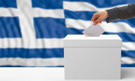 waiving: Voter on an waiving Greece flag background. 3d illustration Stock Photo