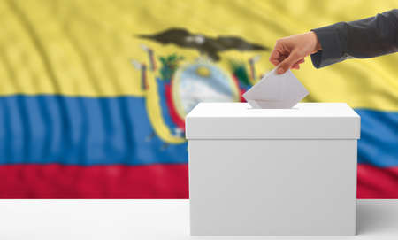 Voter on an waiving Ecuador flag background. 3d illustration Stock Photo