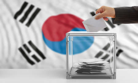Voter on an waiving South Korea flag background. 3d illustration