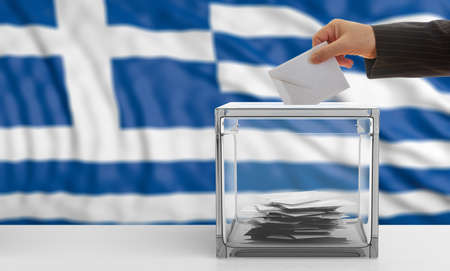 Voter on an waiving Greece flag background. 3d illustration Stock Photo