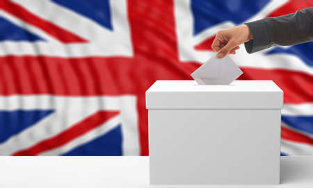 waiving: Voter on an waiving Great Britain flag background. 3d illustration Stock Photo