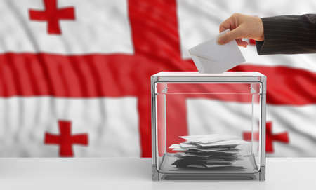 waiving: Voter on an waiving Georgia flag background. 3d illustration