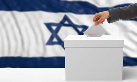 Voter on an waiving Israel flag background. 3d illustration