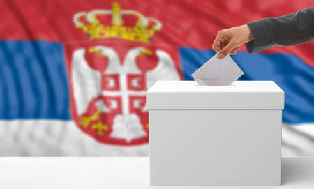 waiving: Voter on an waiving Serbia flag background. 3d illustration