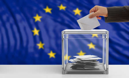 Voter on an waiving European Union flag background. 3d illustration