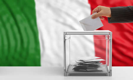 waiving: Voter on an waiving Italy flag background. 3d illustration Stock Photo