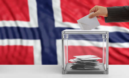 Voter on an waiving Norway flag background. 3d illustration Stock Photo