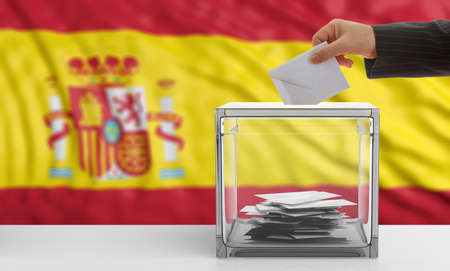 Voter on an waiving Spain flag background. 3d illustration