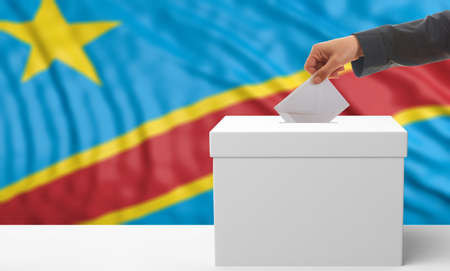 Voter on an waiving Congo flag background. 3d illustration