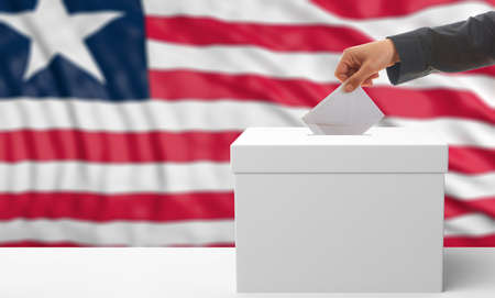 waiving: Voter on an waiving Liberia flag background. 3d illustration Stock Photo