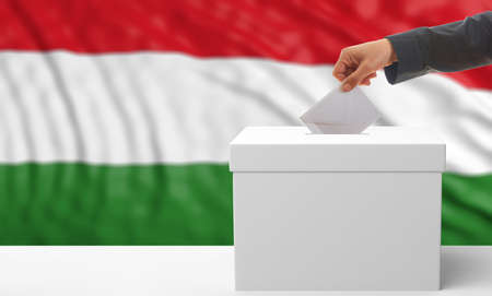 Voter on an waiving Hungary flag background. 3d illustration Zdjęcie Seryjne
