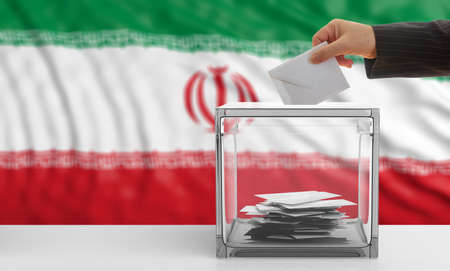 Voter on an waiving Iranian flag background. 3d illustration