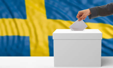 waiving: Voter on an waiving Sweden flag background. 3d illustration Stock Photo