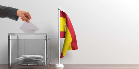 Glass ballot box and a small Spanish flag. 3d illustration Stock Photo