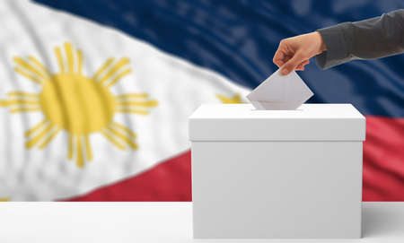 waiving: Voter on an waiving Philippines flag background. 3d illustration Stock Photo