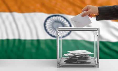 Voter on an waiving India flag background. 3d illustration