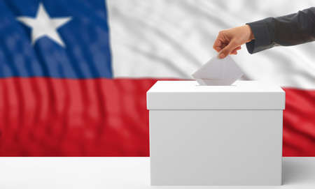 waiving: Voter on an waiving Chile flag background. 3d illustration Stock Photo
