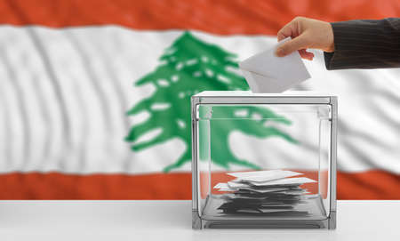 Voter on an waiving Lebanon flag background. 3d illustration Stock Photo