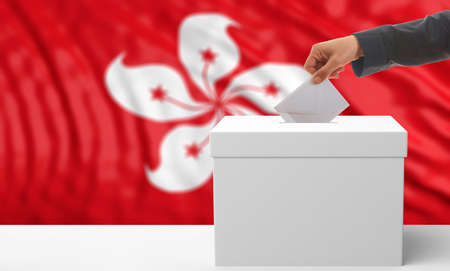 Voter on an waiving Hong Kong flag background. 3d illustration Stock Photo