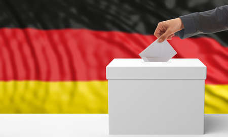 Voter on an waiving Germany flag background. 3d illustration
