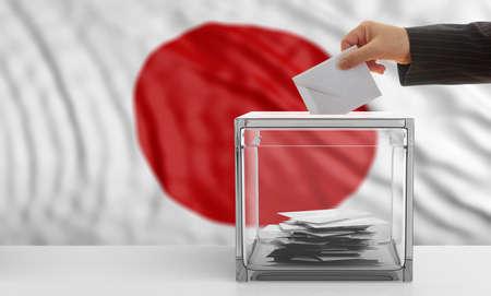 Voter on an waiving Japan flag background. 3d illustration