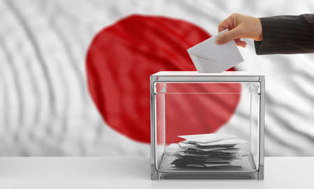 waiving: Voter on an waiving Japan flag background. 3d illustration