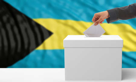 Voter on an waiving Bahamas flag background. 3d illustration