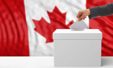 waiving: Voter on an waiving Canada flag background. 3d illustration