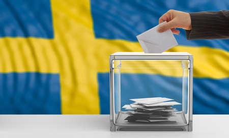 Voter on an waiving Sweden flag background. 3d illustration Stock Photo
