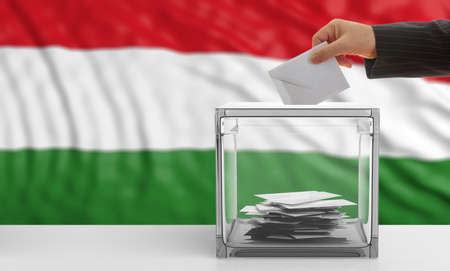 Voter on an waiving Hungary flag background. 3d illustration Stock Photo
