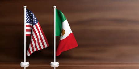 Mexico and USA miniature flags on wooden background. 3d illustration Zdjęcie Seryjne