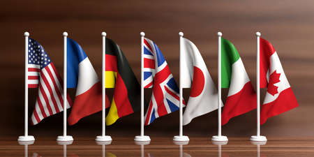 G7 - G8 miniature flags on wooden background. 3d illustration Stock Photo