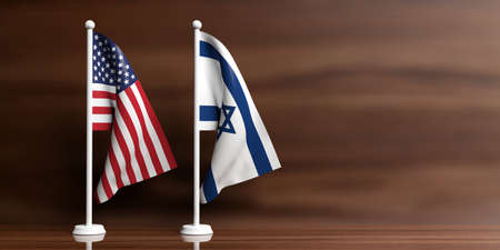 Israel and USA miniature flags on wooden background. 3d illustration