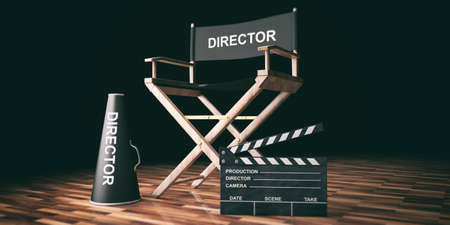 Cinema director chair and clapper on wooden background. 3d illustration Stock Photo