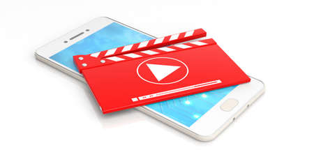 Media clapper on a smart phone on white background. 3d illustration