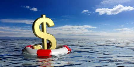 Boya de vida y un símbolo de dólar en el fondo azul del mar y el cielo. Ilustración 3d Foto de archivo