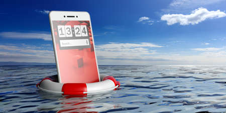 Life buoy and a smartphone on blue sky and sea background. 3d illustration
